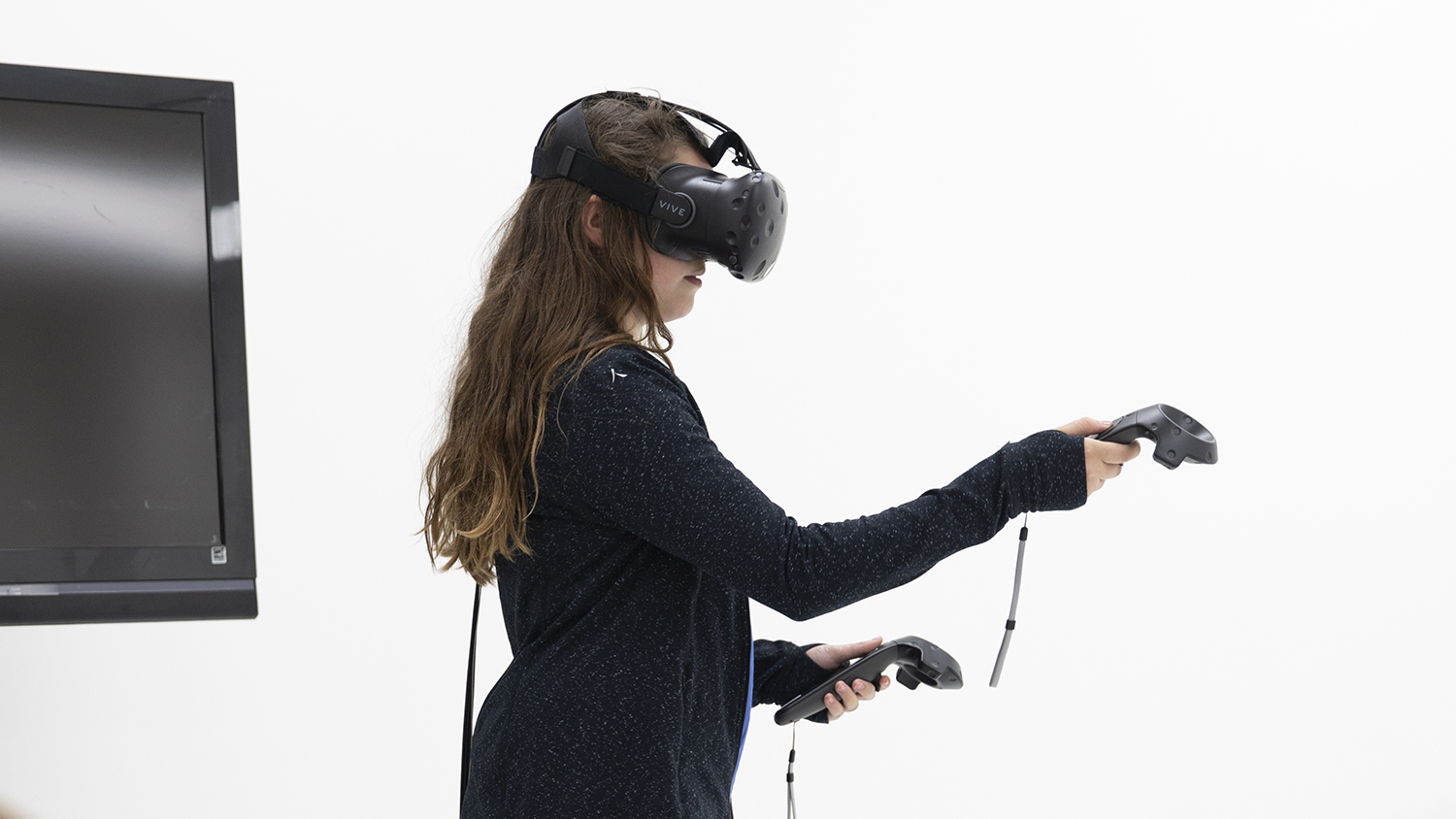 A person using a Vive VR headset
