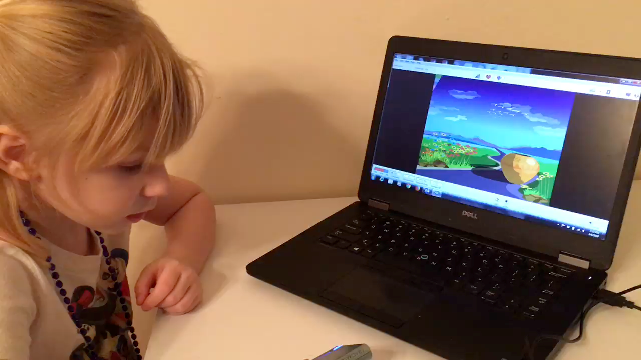 Biofeedback testing on computer with young child
