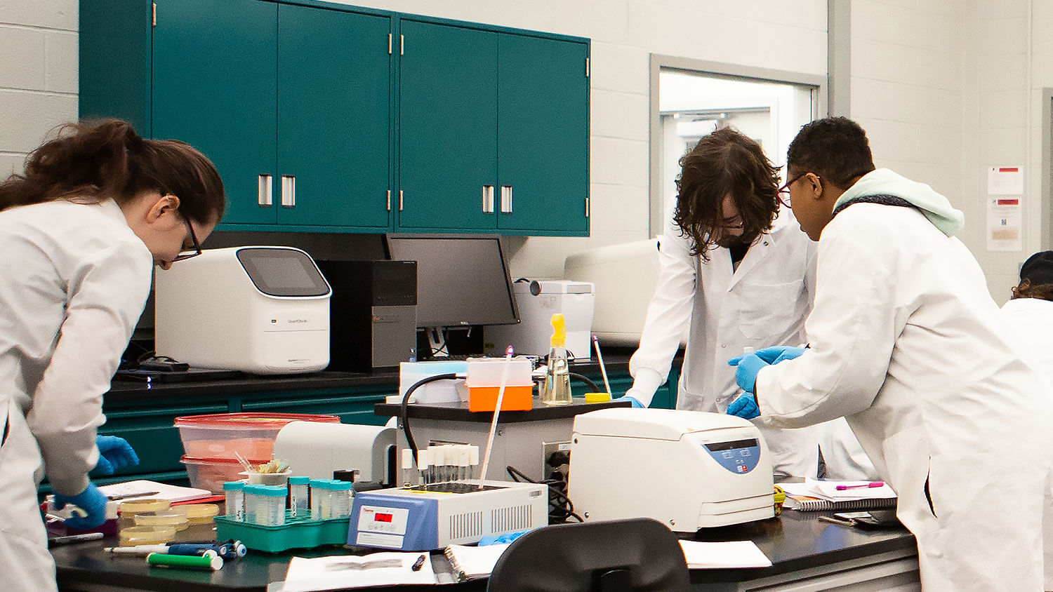 Students working in the genomics lab during class.
