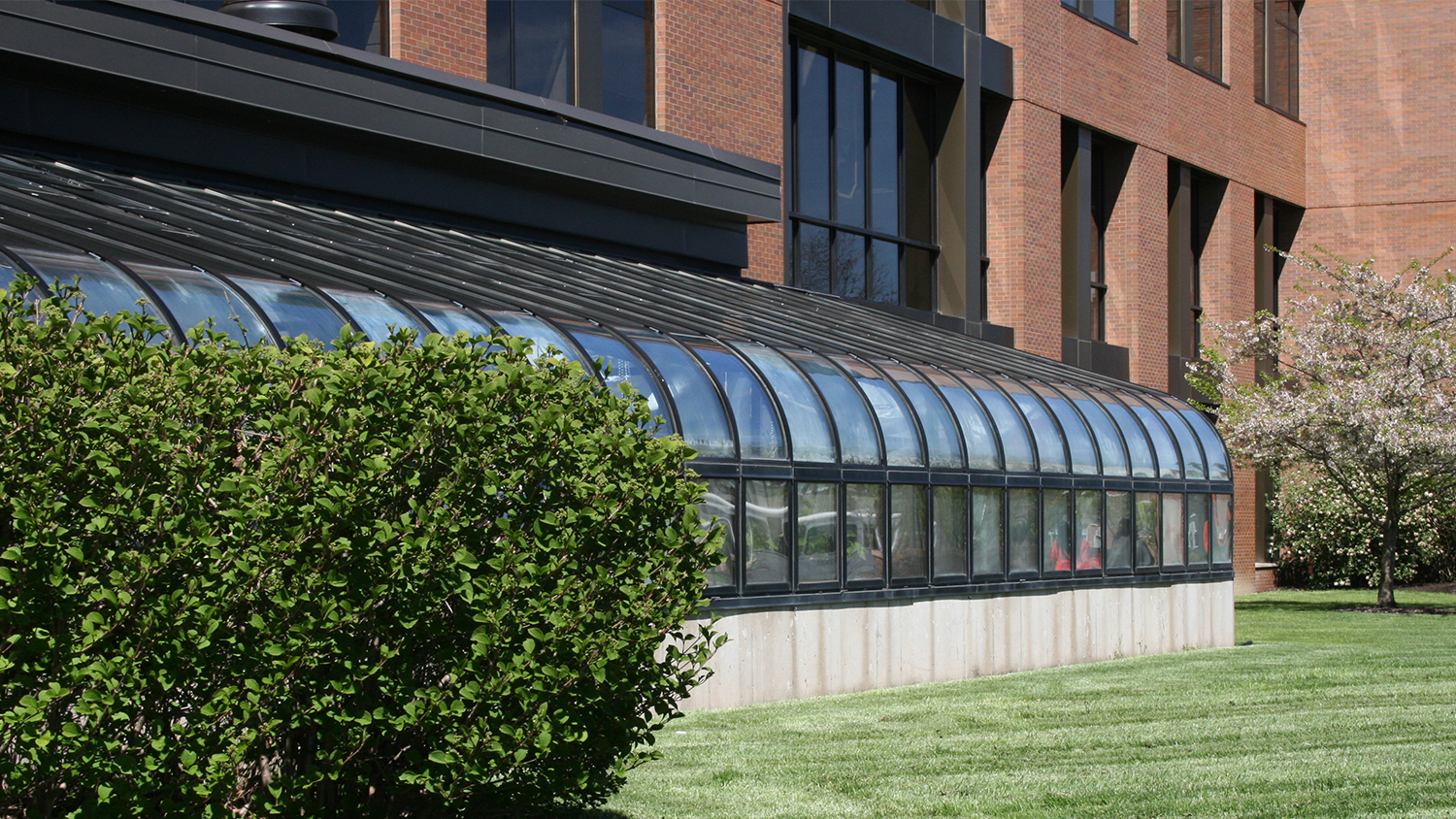 greenhouse exterior in Thomas H. Gosnell Hall