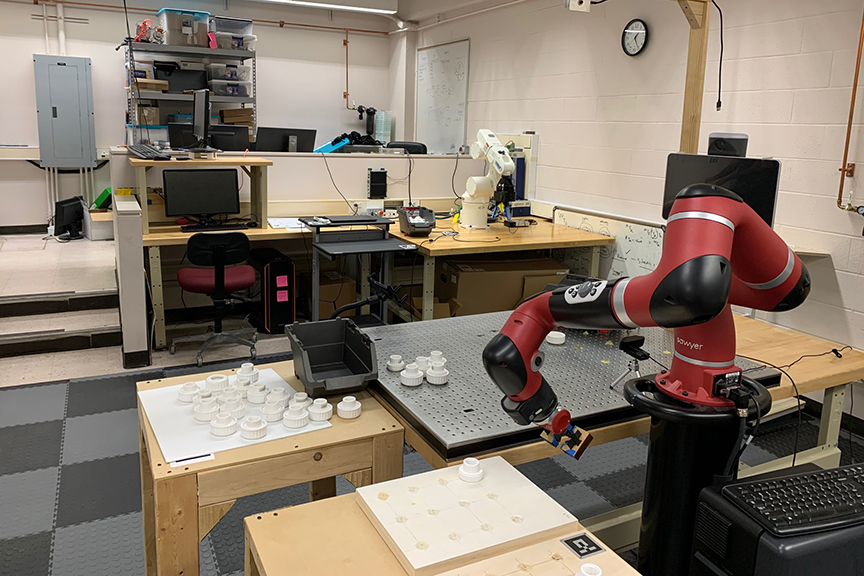 Robotic equipment in an engineering lab.