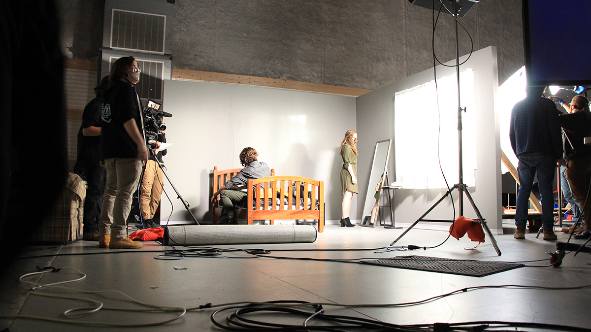 The set of a student film in the MAGIC Spell Studios sound stage.