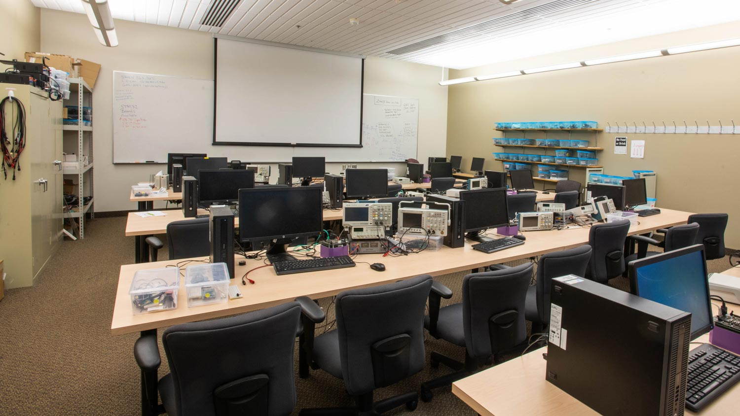 Computer lab with embedded systems monitoring equipment