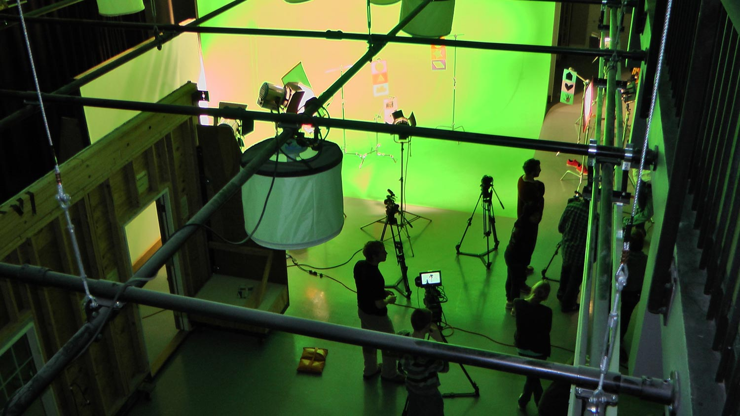 Arial view of a videoshoot with multiple camera