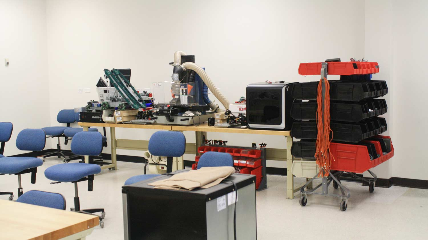 Lab with CNC machines on a table