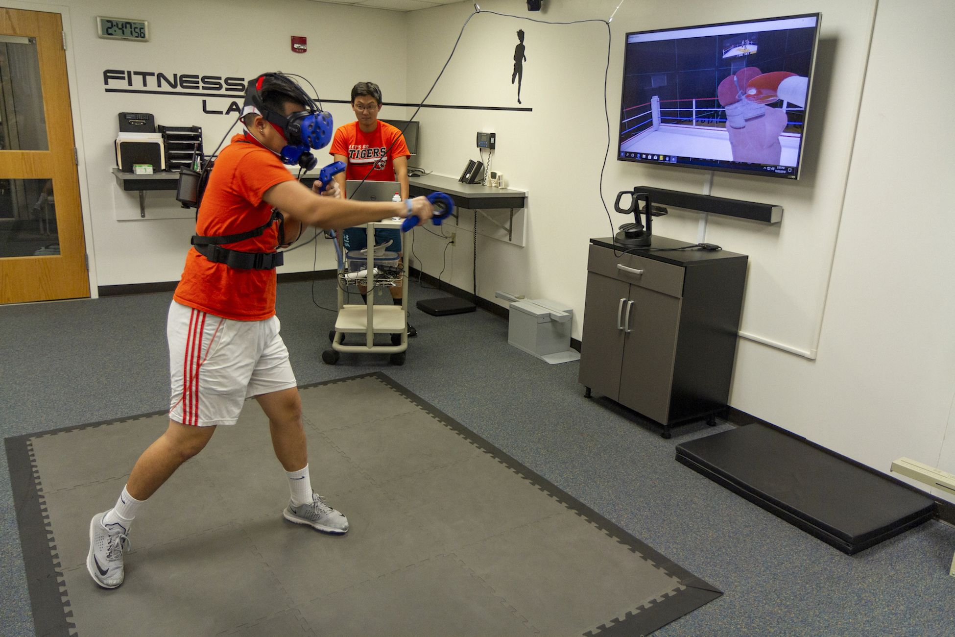 Student engaged in virtual reality boxing