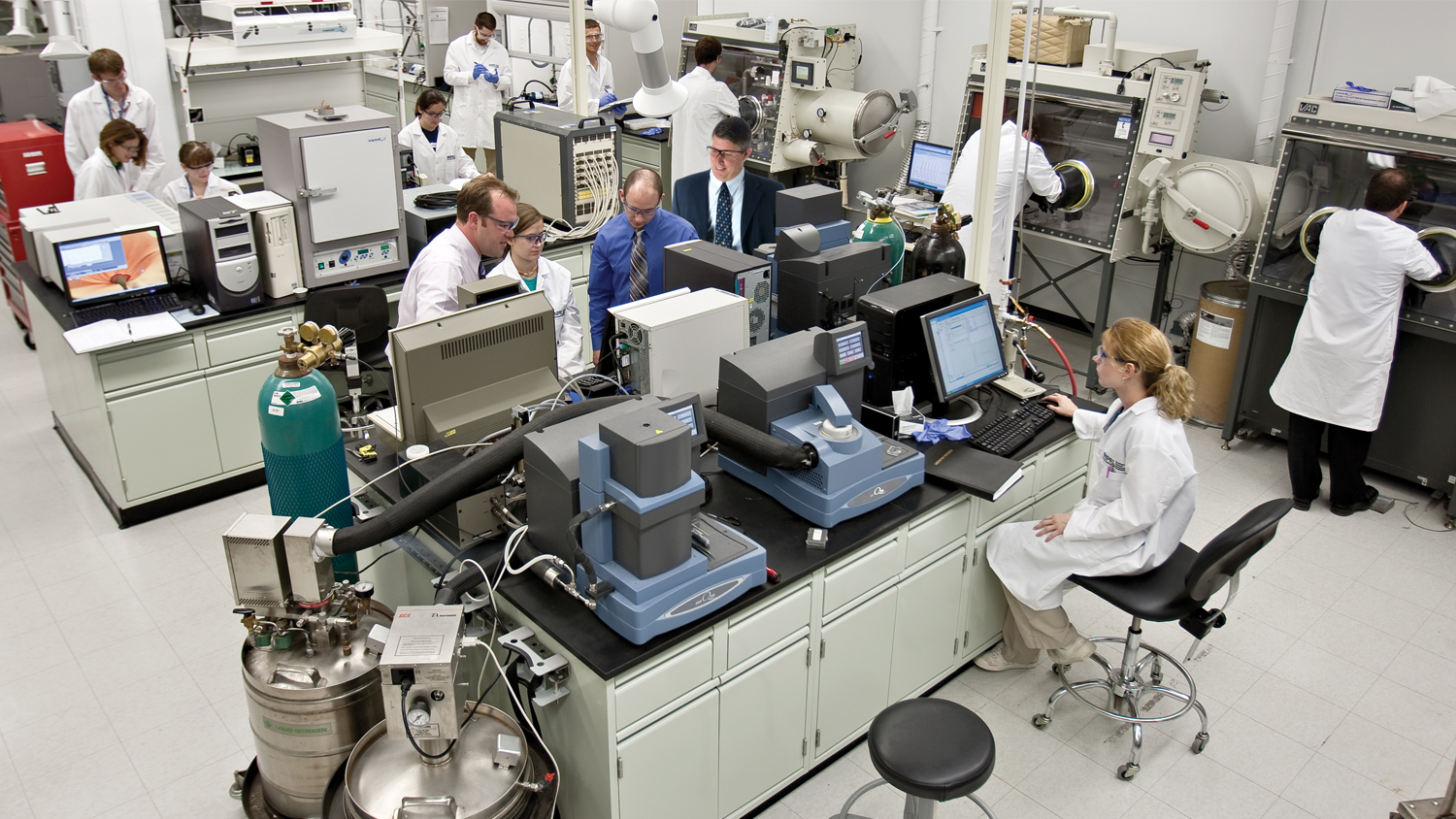 Scientists and researchers working in a research lab