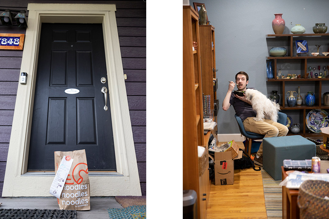 two vertical images: one of a food delivery sitting on a front step, the other of student sitting in office chair with dog on his lap eating from a bowl.