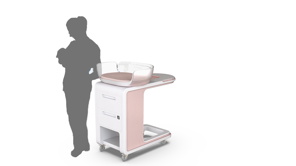 A silhouette stands next to a bassinet design on wheels.