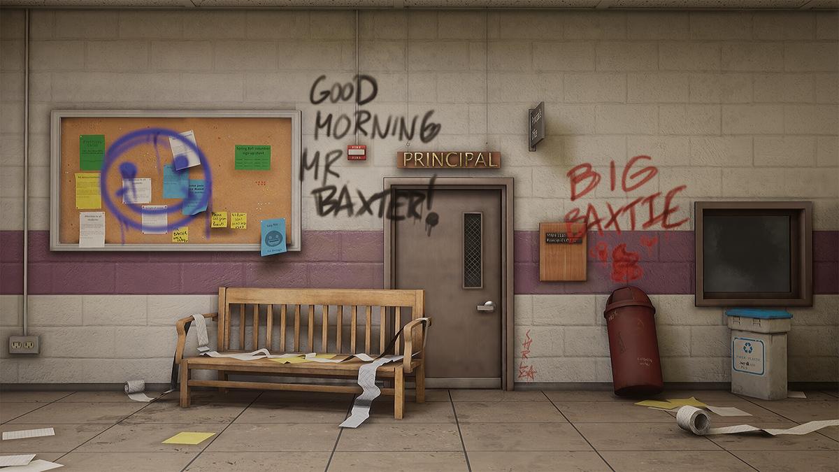 A school wall is plastered in graffiti.