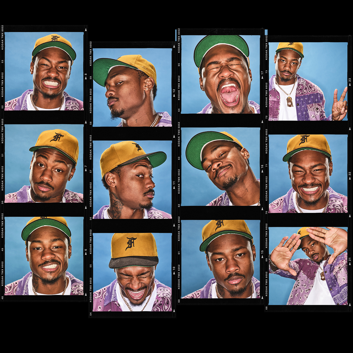 A collage of portraits of Stefon Diggs, in a Brady Bunch-like grid.