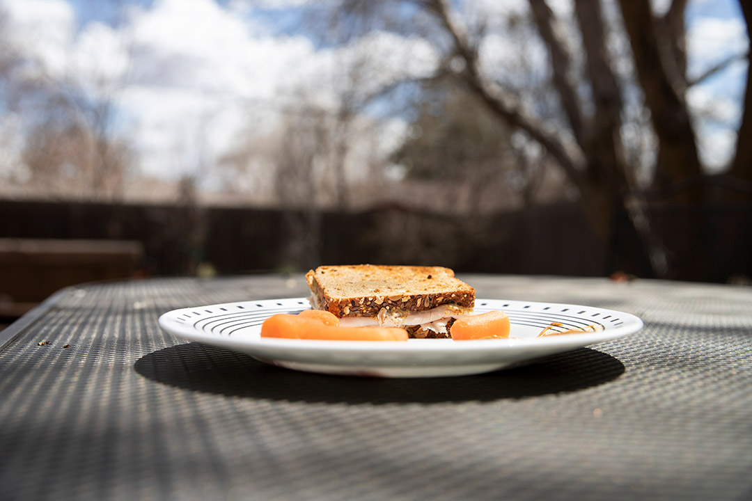 a sandwich on a plate on a picnic bench.