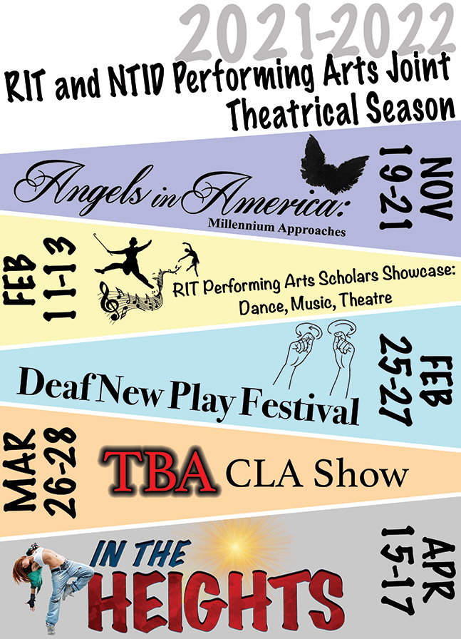 poster advertising five theatrical performances.
