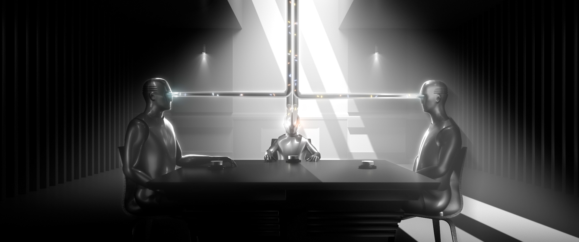 A scene of three robots sitting at a table with lasers coming out of their eyes.