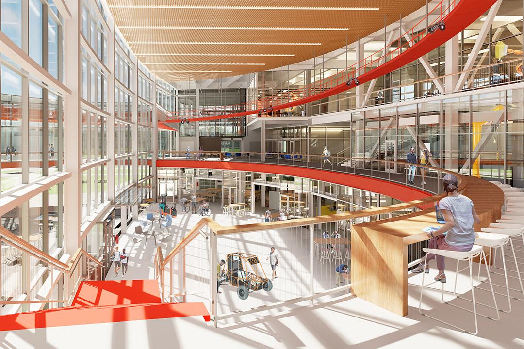 artist rendering of interior of multi-level glass building.