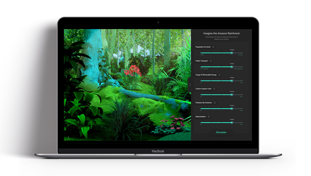 An interactive design visualization of the Amazon rainforest.