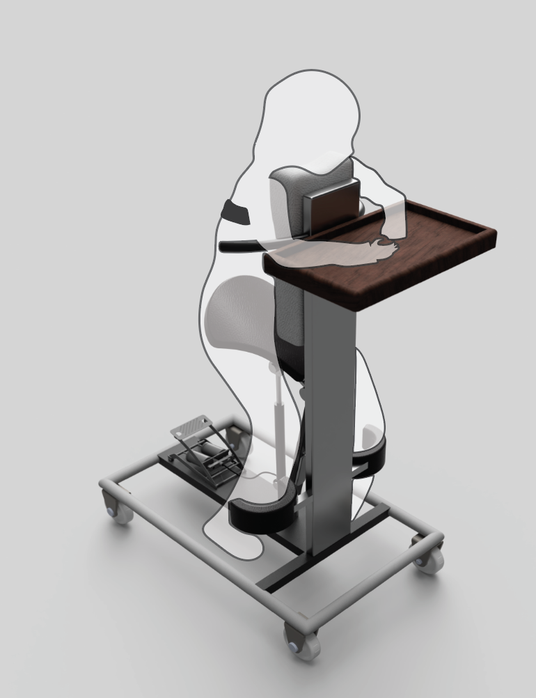 A silhouette uses an assistive stander design.