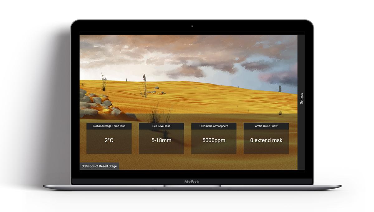 An interactive design of an Amazon rainforest visualizer.