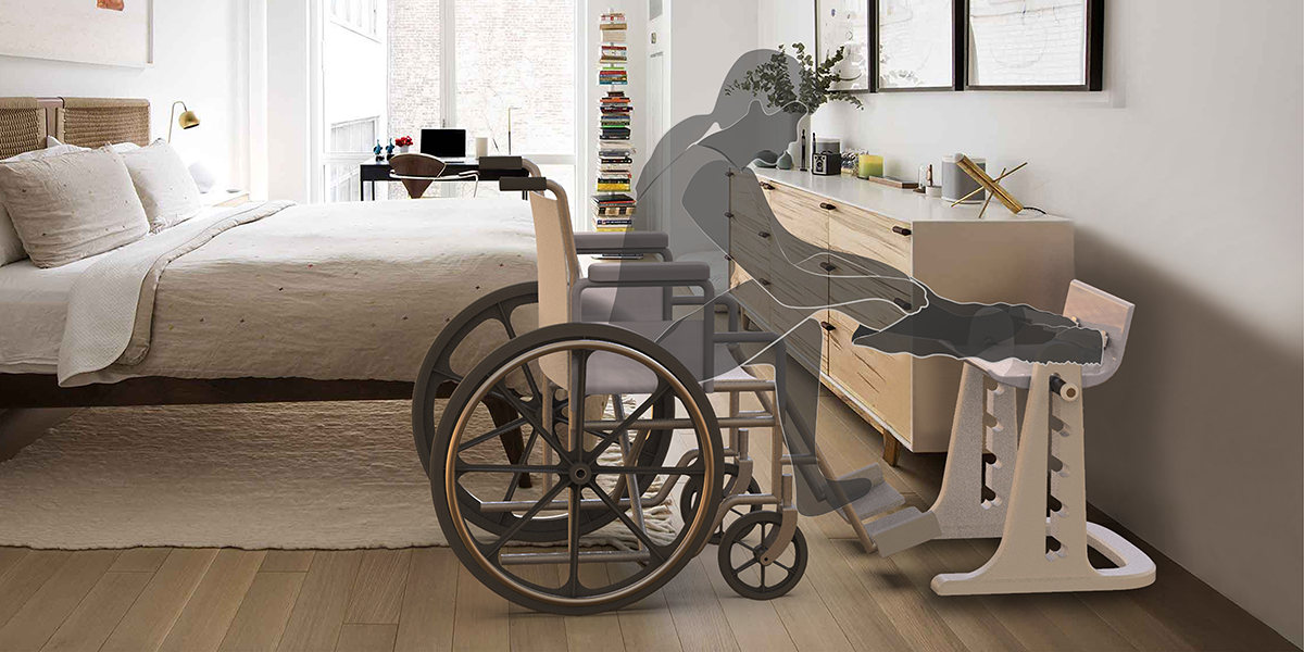 A rendering of a wheelchair user using an apparatus that assists with getting dressed.