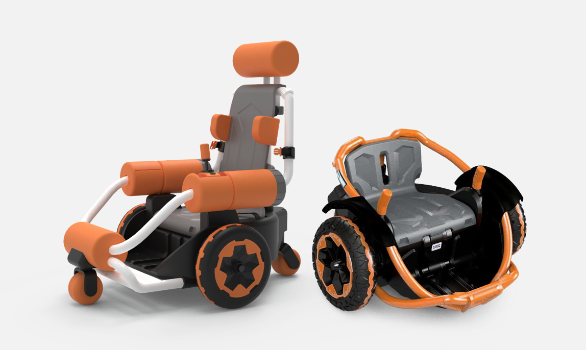 A rendering of a power wheelchair design.
