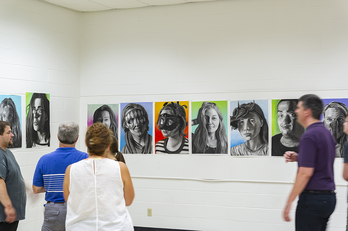 a display of self-portraits