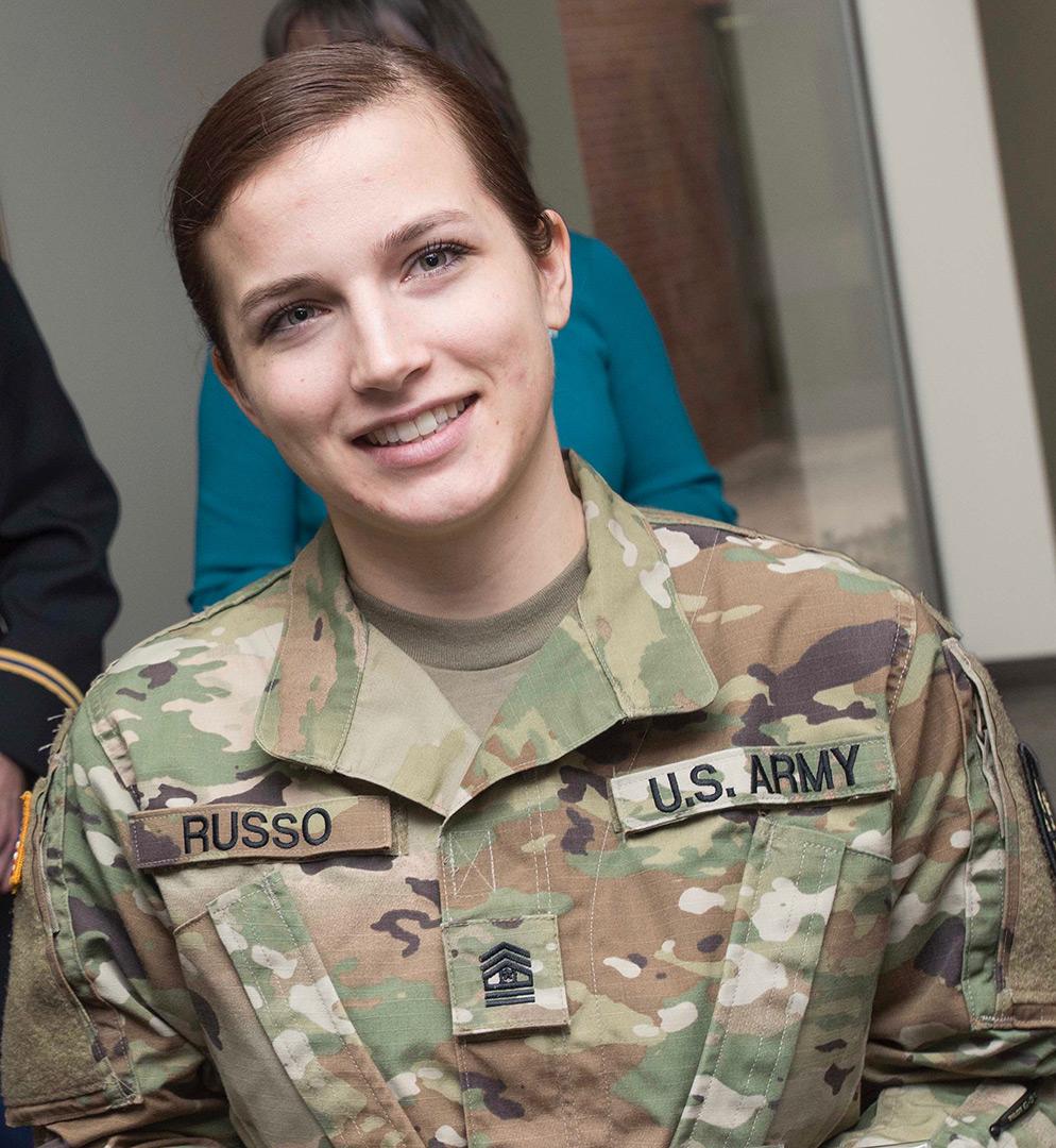 Female ROTC cadet wearing Army uniform