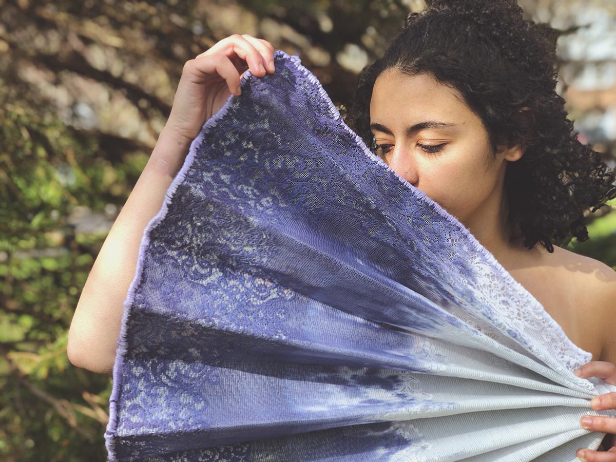 A large, fabric fan.