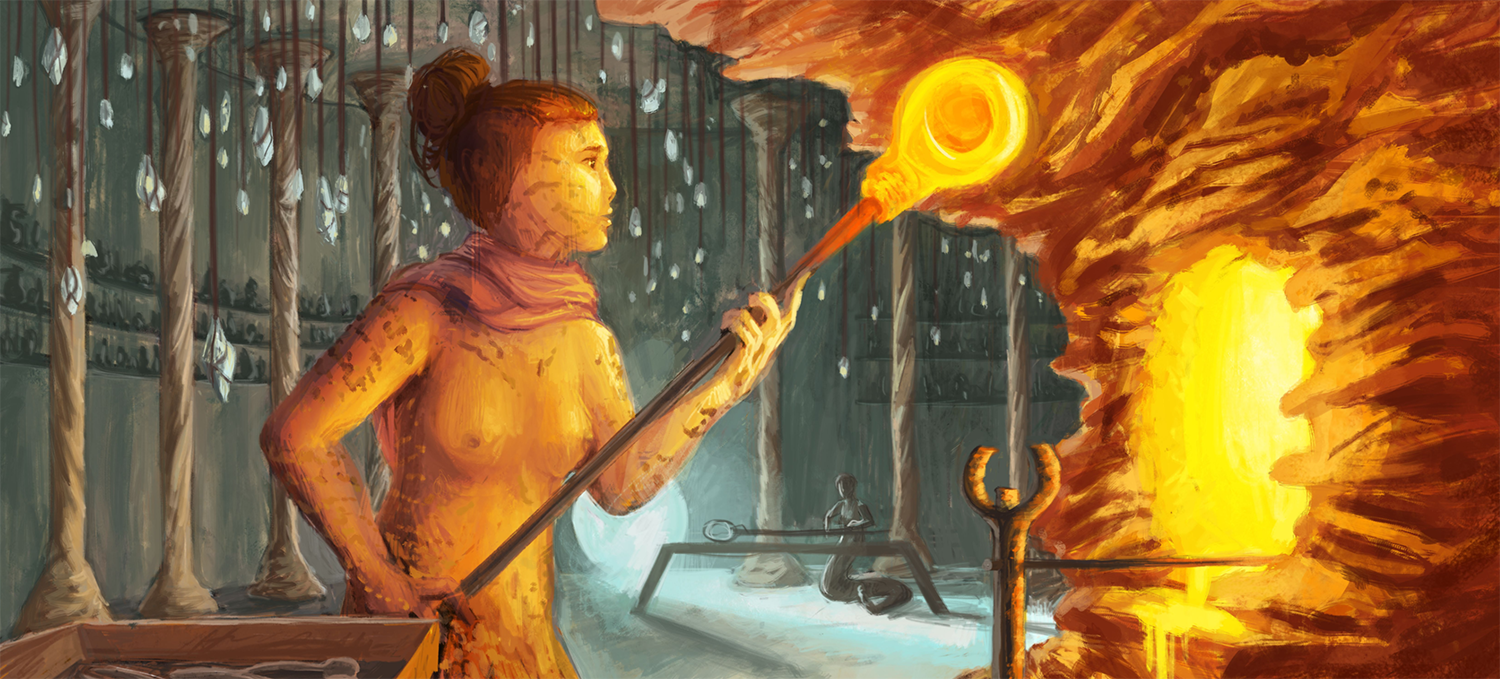 An illustration of a woman holding a fiery object.