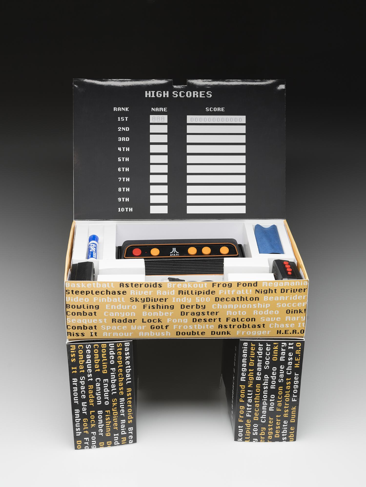 The Atari display with the high score board