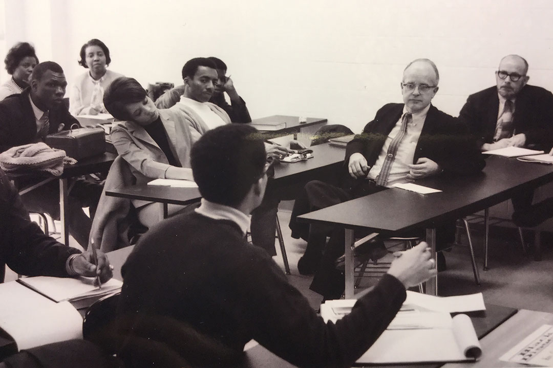 Photo from 1969 of students meeting with school administrators.