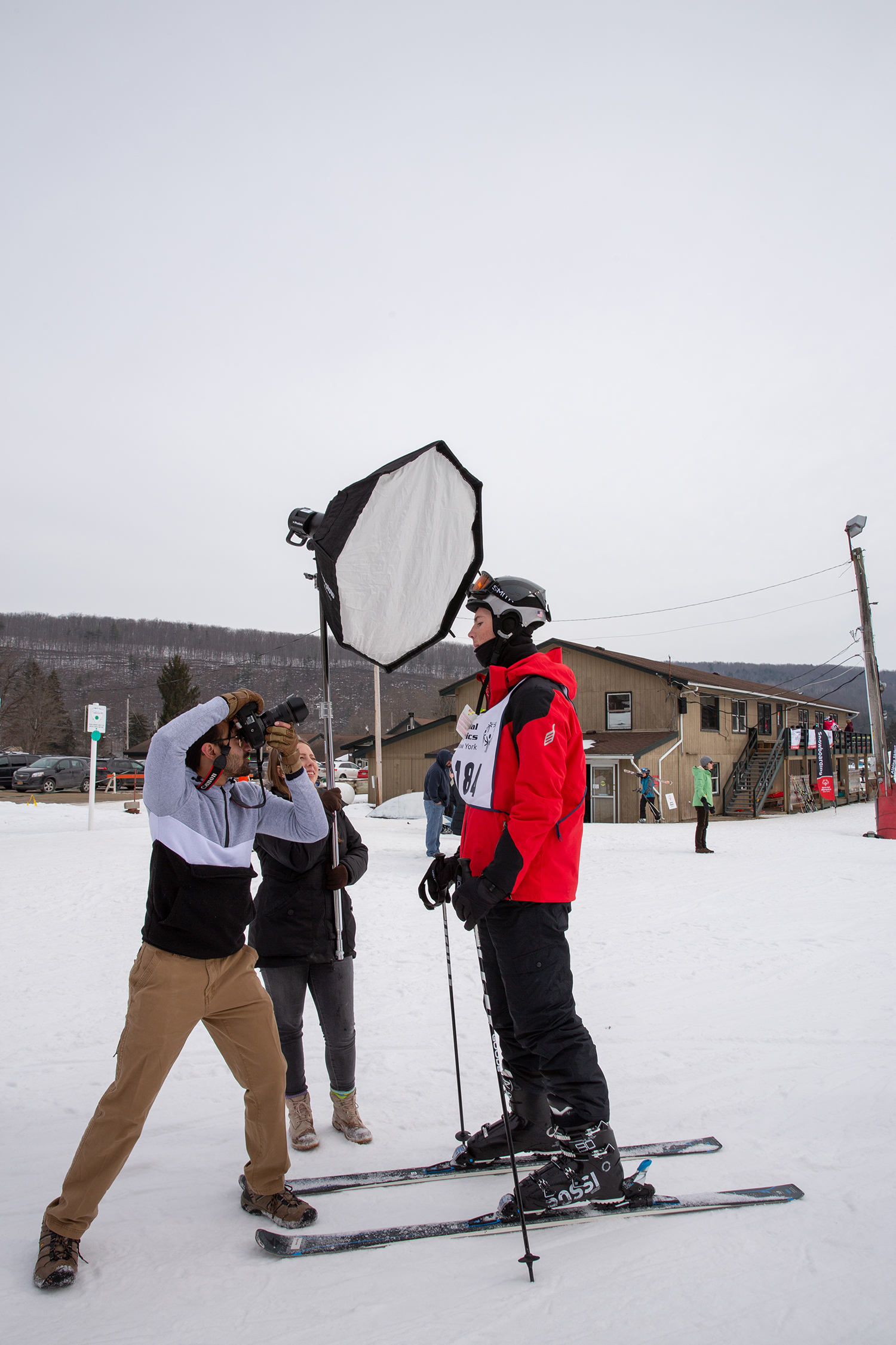 Students take a portrait on the ski slopes