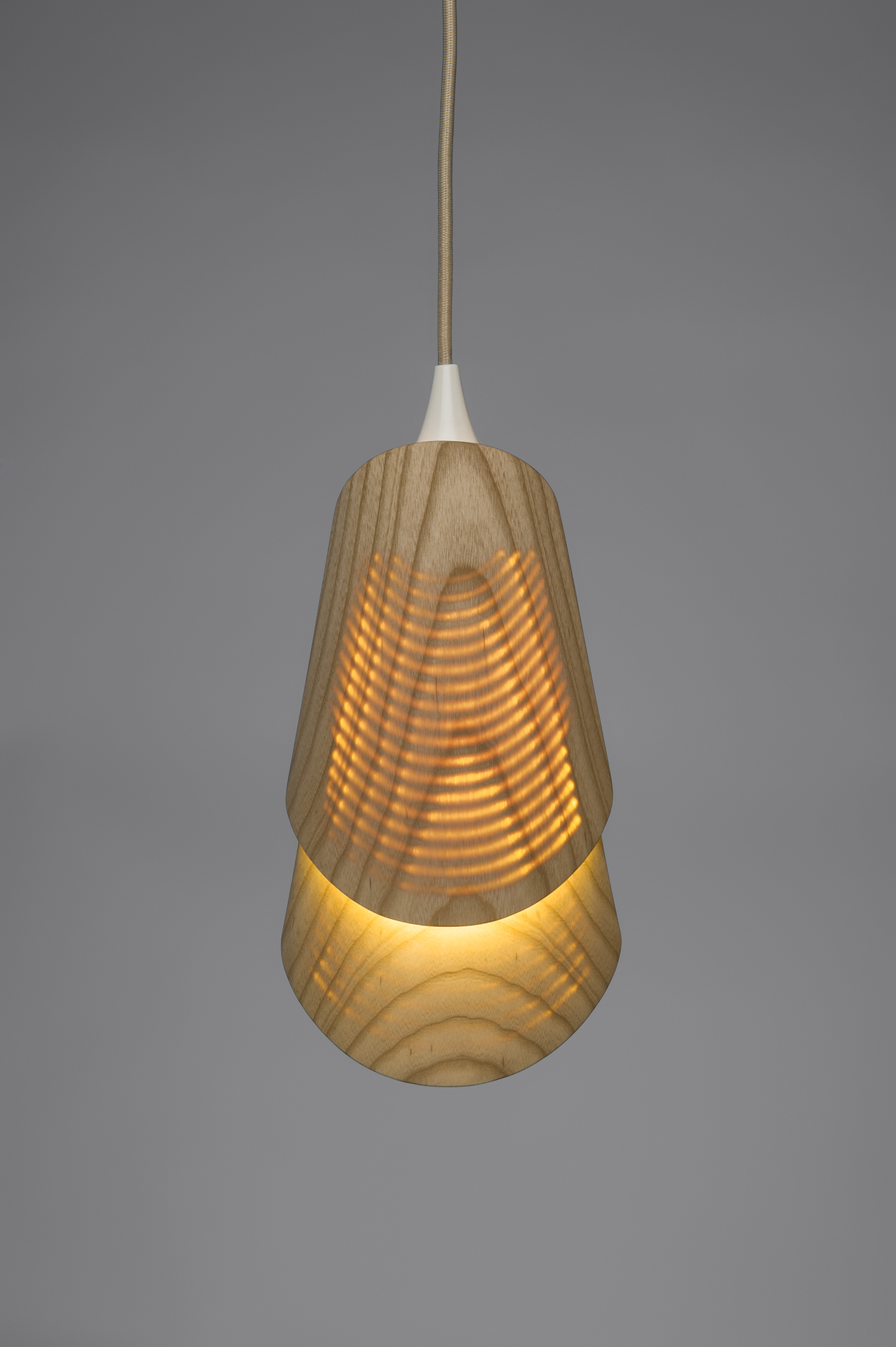 Hanging light with the bulb on