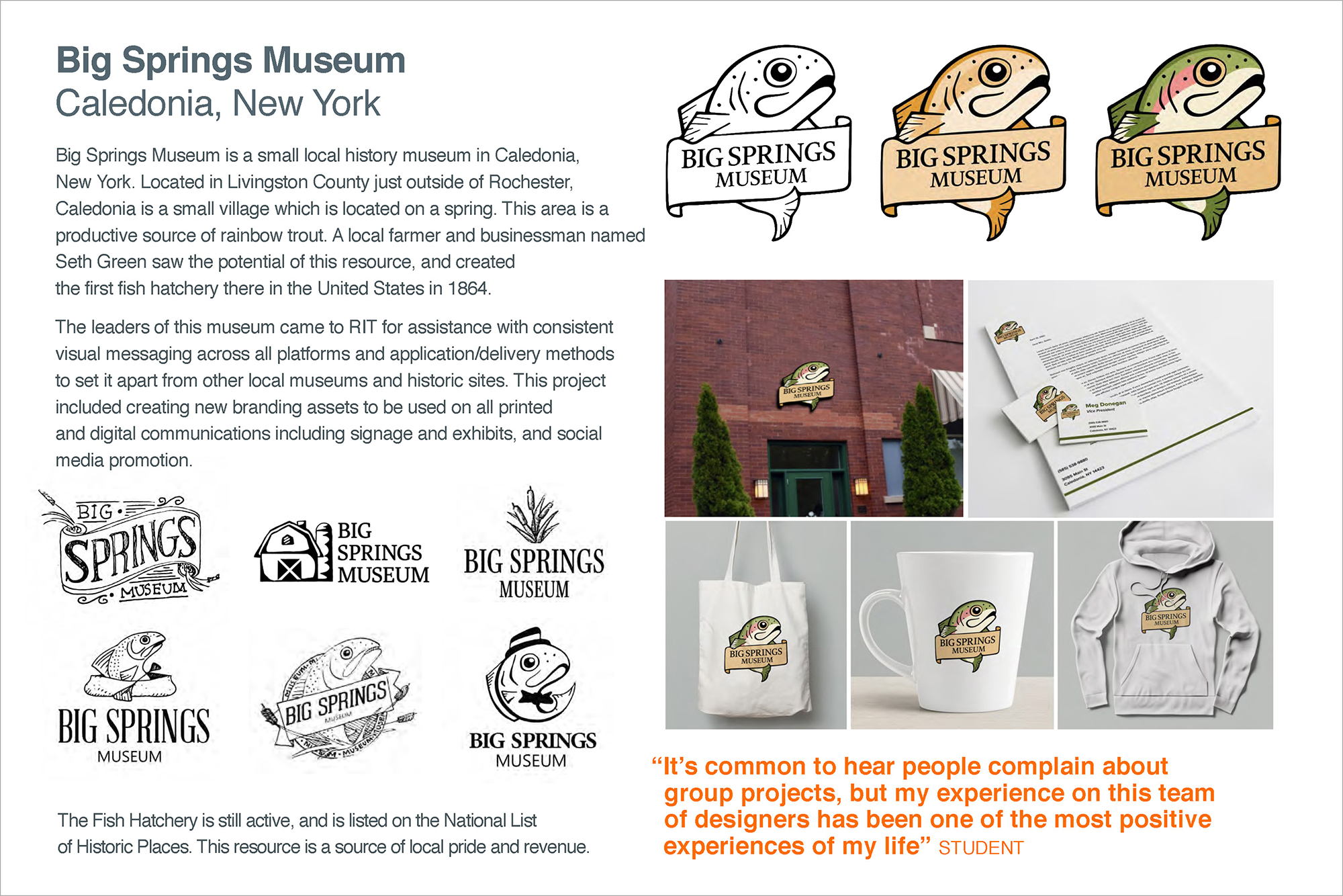 A graphic outlining logos and merchandise for Big Springs Museum.