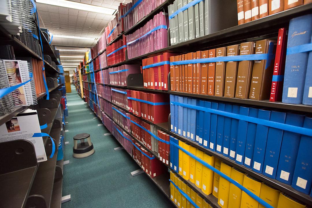 library shelved full of books.