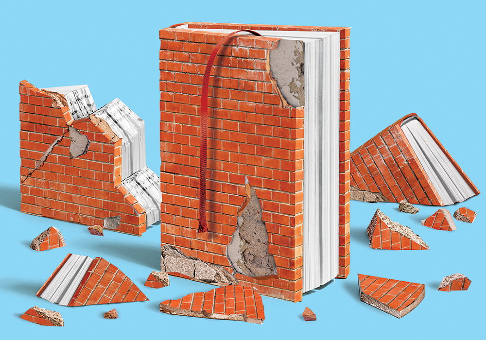 An illustration of a book made out of bricks.
