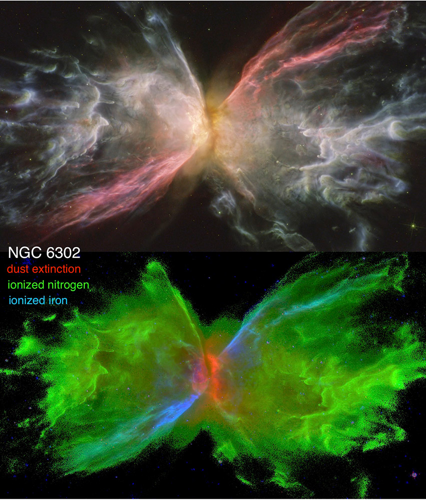 side-by-side images of the Butterfly Nebula using different colors to highlight different areas.
