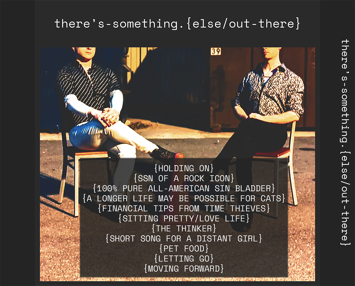 The back cover of an album, with photos of the artists and a tracklist.