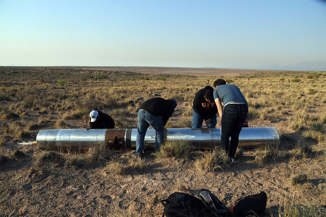 researchers recover a rocket than landed in a field from space.