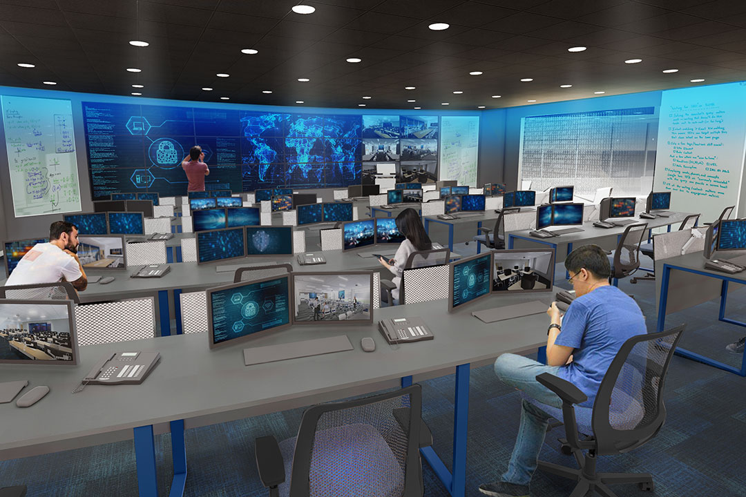 Artist rendering of lab with tables, computers, and large screens.