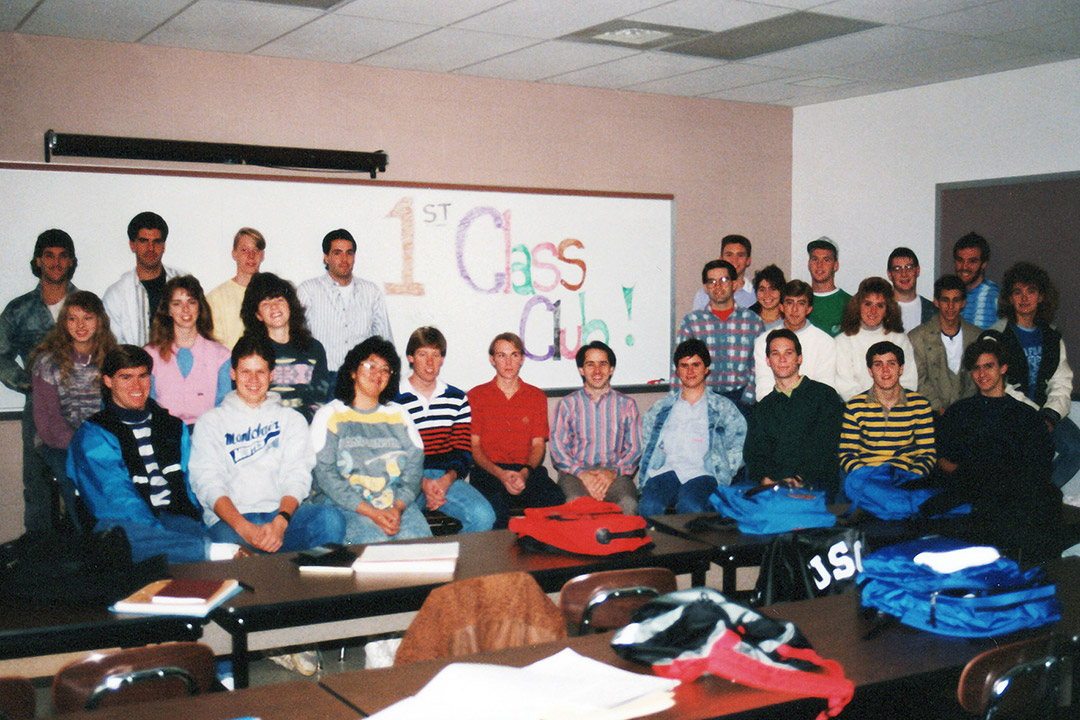 Classroom of students in 1989.
