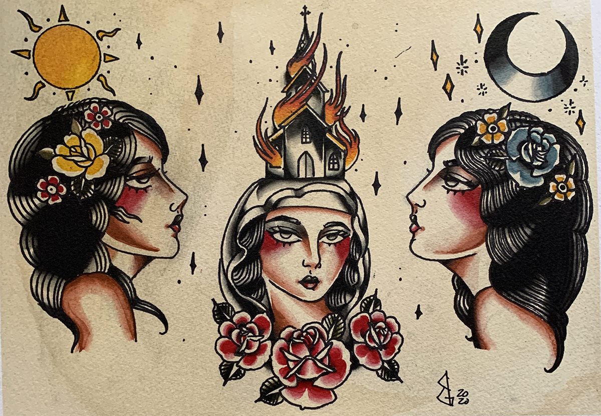 An illustration of three faces, with the sun, moon and a burning house hanging over each.