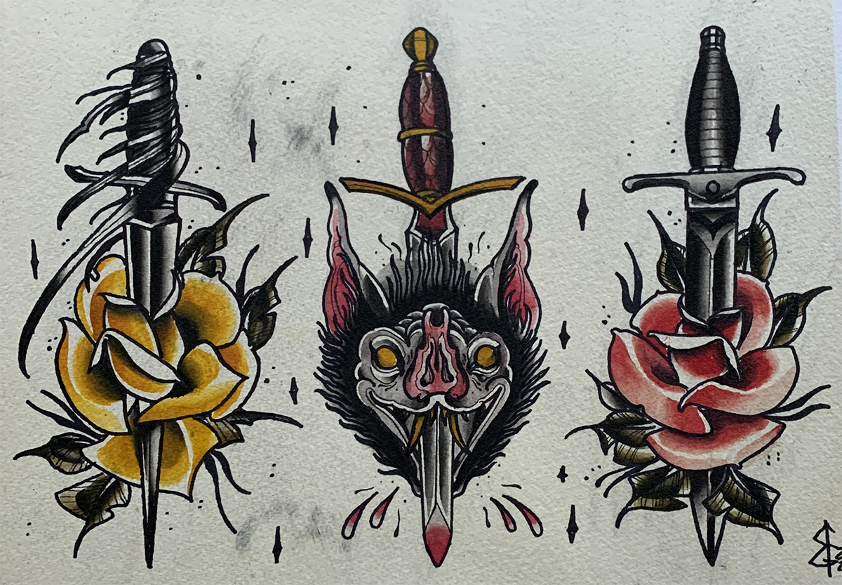 Three illustrations of daggers with items wrapped around them.