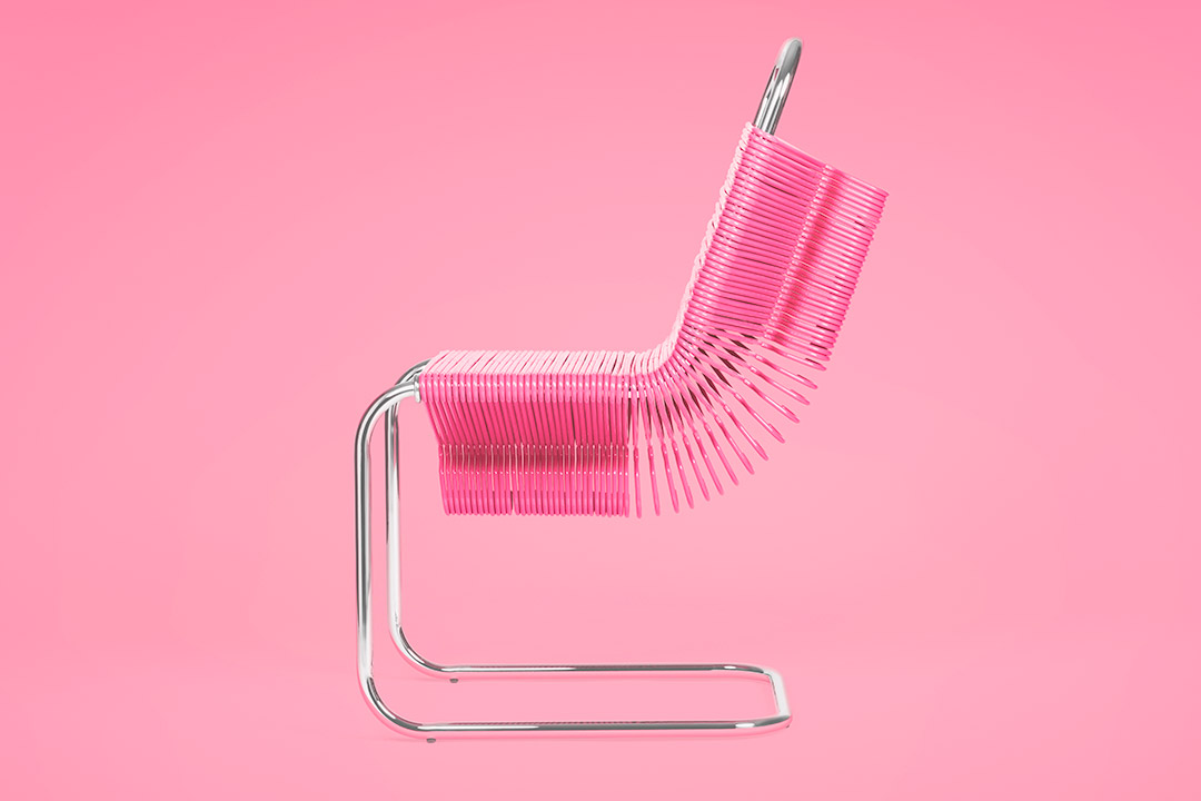 Profile view of chair made out of pink plastic hangers stacked on a frame.