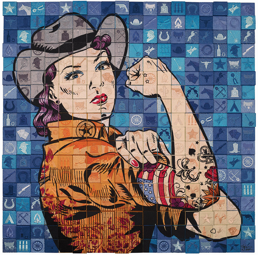 quilt artwork of woman resembling Rosie the Riveter.