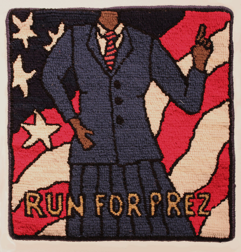 knit image of woman wearing skirt suit and the words: Run for Prez.