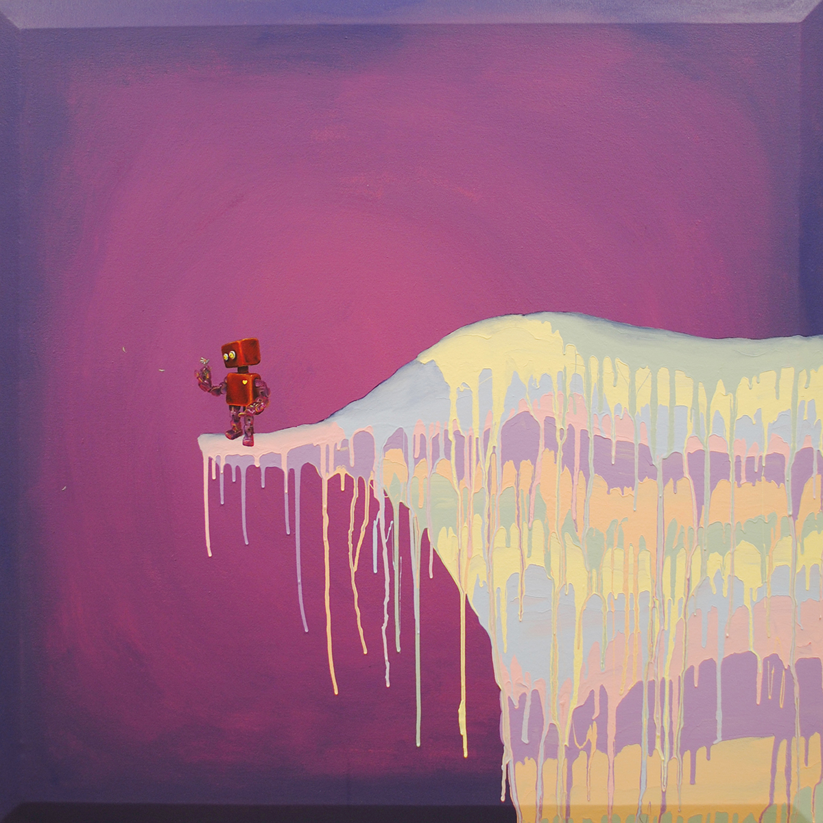 A painting of a toy on a cliff holding a bird.