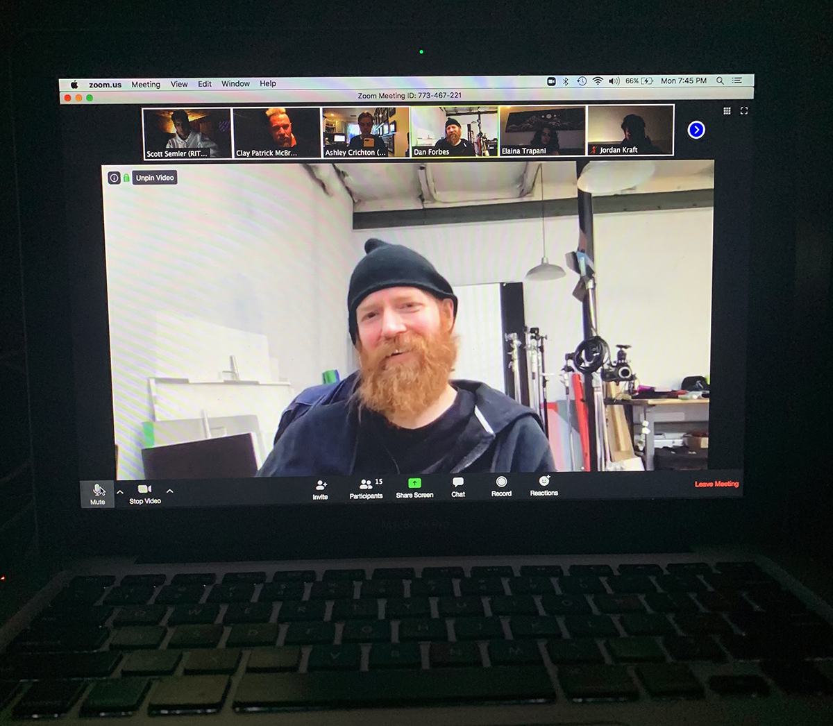 Dan Forbes during a video conference with students.