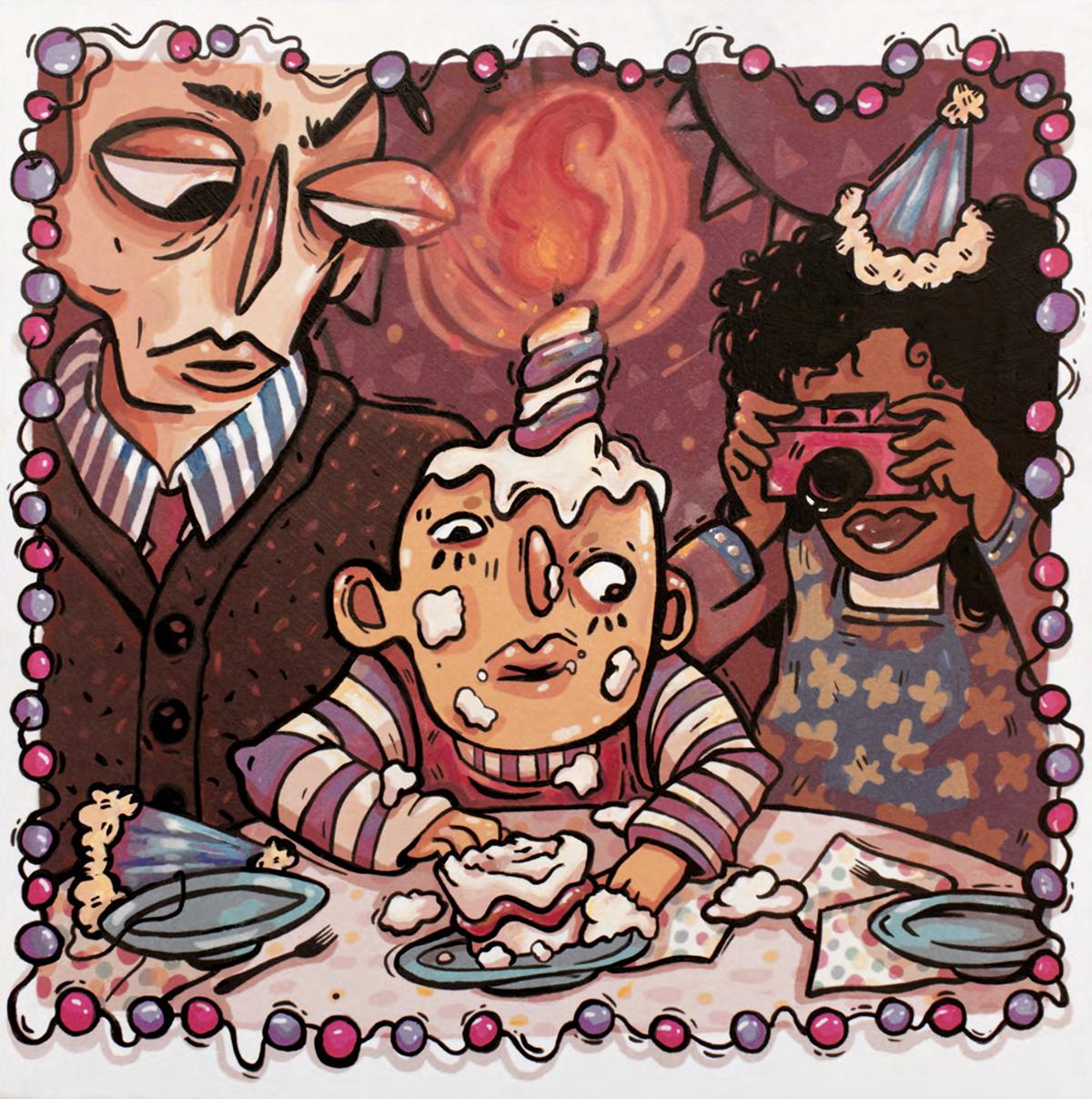 A family gathers around a piece of cake.