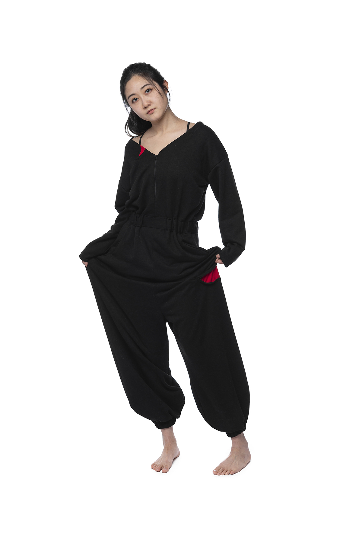 A black and red sweat suit design.
