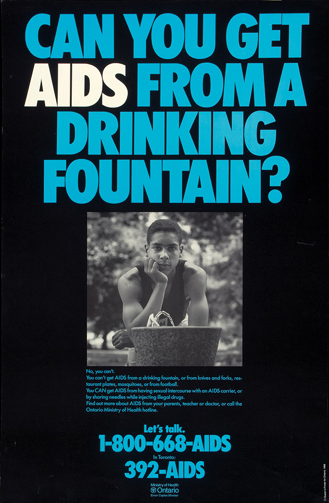AIDS-awareness poster that asks if you can get AIDS from a drinking fountain.